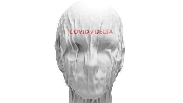 Primo piano del volto ricoperto di stoffa con la scritta