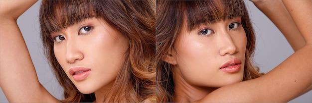Face head shot ritratto di 20s donna asiatica pelle abbronzata marrone capelli biondi stile cosmetic make up. la ragazza esprime la sensazione agli occhi e guarda la telecamera su sfondo grigio isolato