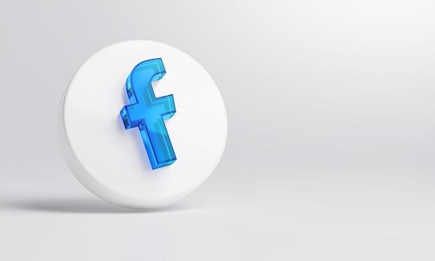 Icona di facebook in vetro acrilico su sfondo bianco rendering 3d.