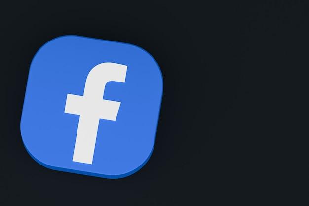 Logo dell'applicazione facebook rendering 3d su sfondo nero