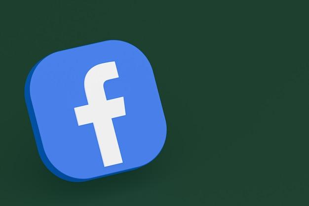 Logo dell'applicazione facebook rendering 3d su sfondo verde