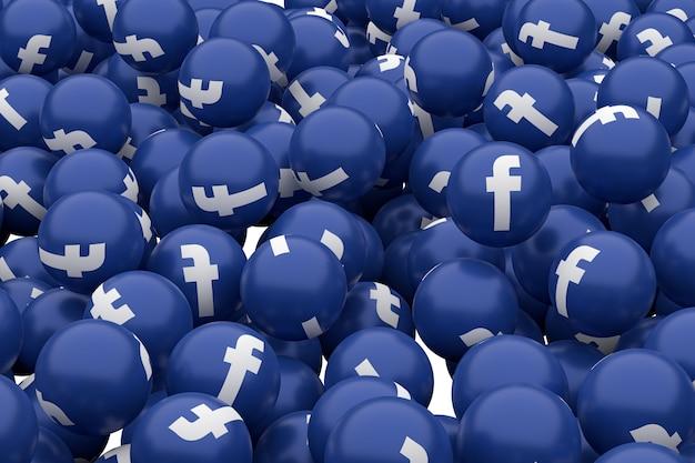L'icona di facebook emoji 3d rende, simbolo dell'aerostato di media sociali con il reticolo delle icone