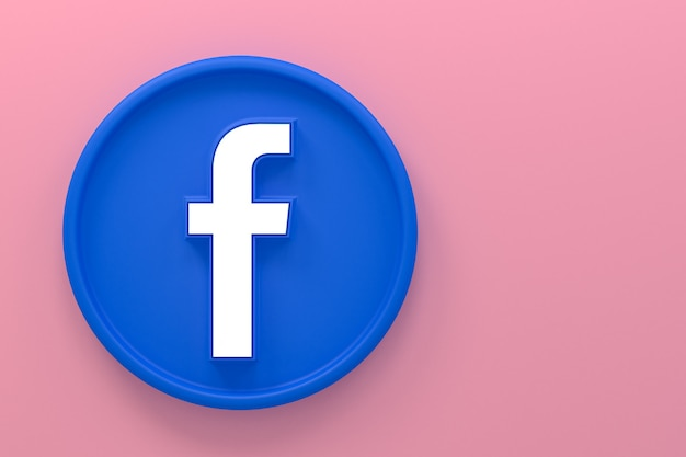 Facebook icona reazioni emoji 3d rendering, simbolo dei social media