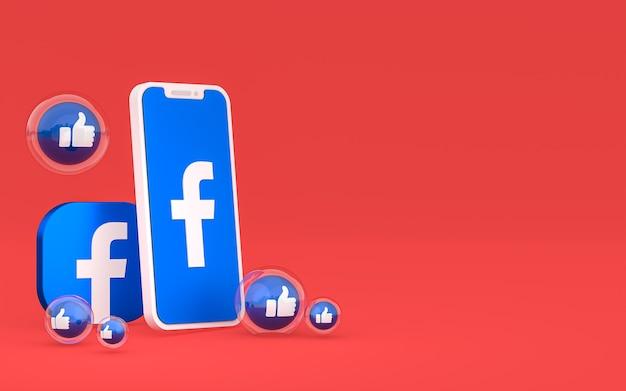 L'icona di facebook sullo schermo dello smartphone e le reazioni di facebook amano, wow, come le emoji con lo sfondo dello spazio della copia