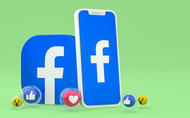 L'icona di facebook sullo schermo dello smartphone e le reazioni di facebook amano, wow, come le emoji con lo spazio della copia