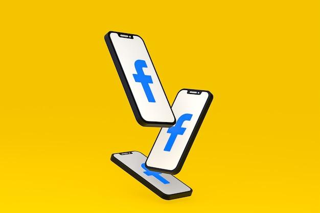 Icona di facebook sullo schermo dello smartphone o del telefono cellulare 3d render