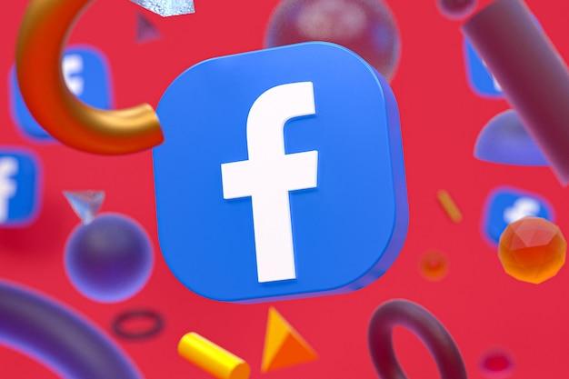 Logo ig di facebook su sfondo di geometria astratta