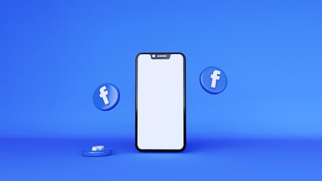Rendering 3d del logo di facebook. notifiche sui social media sul telefono