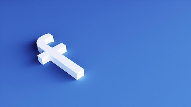 Modello di design semplice minimal logo di facebook. copia spazio 3d rendering