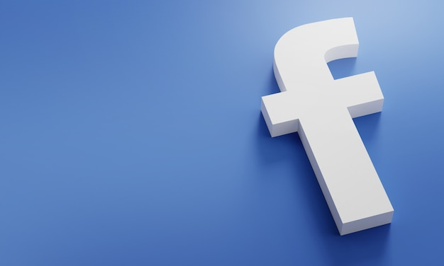 Logo facebook modello minimo di design semplice. copia space 3d