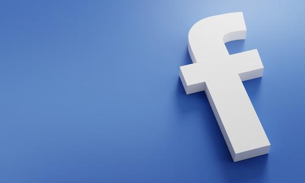 Logo facebook modello minimo di design semplice. copia space 3d Foto Premium