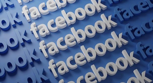 Tipografia multipla di facebook sulla parete blu
