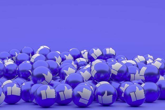 Reazioni di facebook emoji rendering 3d foto premium, simbolo dell'aerostato dei social media con simboli simili di pollice in alto, sfondo blu