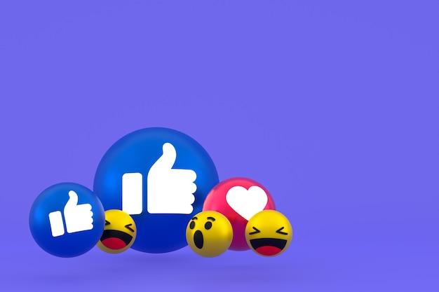 Facebook reazioni emoji 3d rendering, simbolo di palloncino social media su sfondo viola