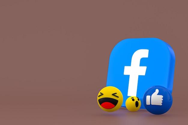 Rendering 3d di emoji di reazioni di facebook, simbolo di palloncino di social media con motivo a icone di facebook