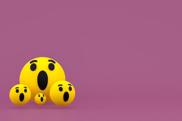 Reazioni di facebook emoji rendering 3d, simbolo palloncino social media con motivo icone facebook icons