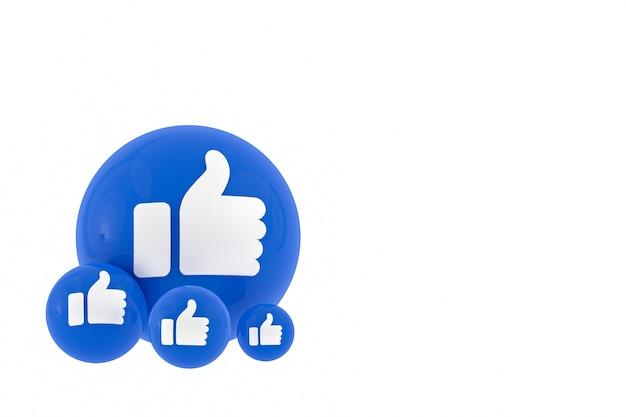 Reazioni di facebook emoji rendering 3d, simbolo del palloncino dei social media con motivo di icone di facebook