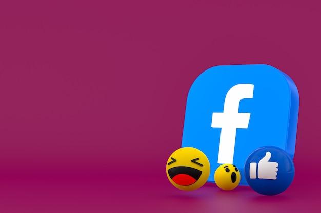 Rendering di emoji di reazioni di facebook, simbolo di palloncino di social media con motivo a icone di facebook