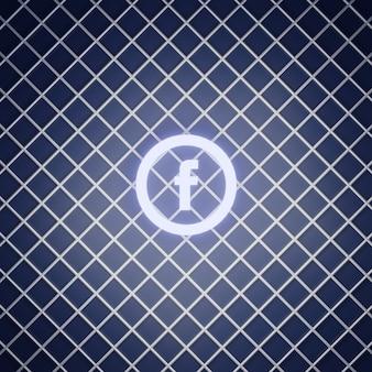 Rendering di effetto neon segno di facebook