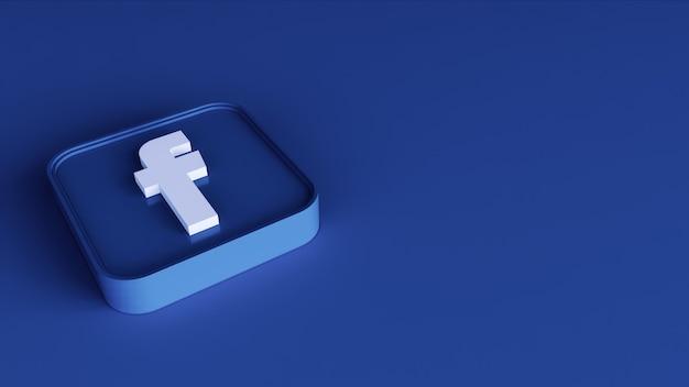 Facebook icona pulsante quadrato 3d con copia spazio. rendering 3d