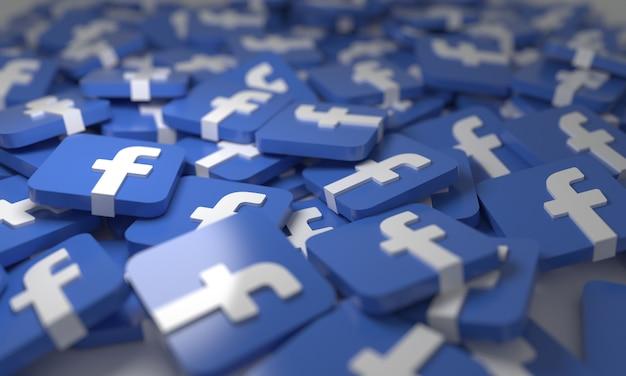 Facebook impilato 3d isometrico loghi sfondo simbolo social network media