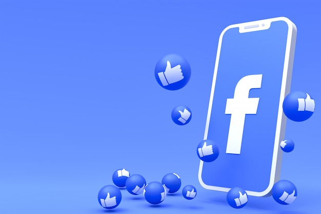 Il simbolo di facebook sullo schermo dello smartphone o il rendering 3d mobile e le reazioni di facebook amano, wow, come il rendering 3d di emoji