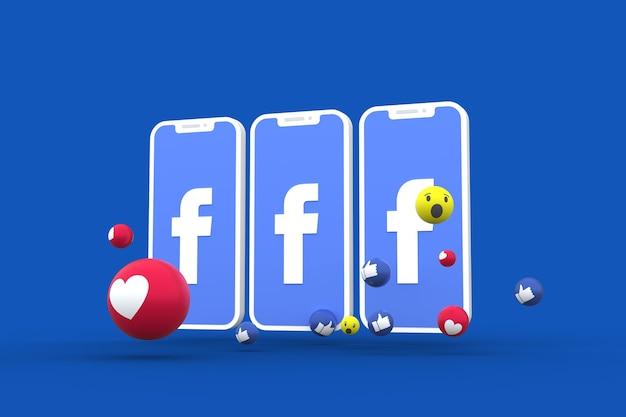 Simbolo di facebook sullo schermo dello smartphone o del cellulare e le reazioni di facebook amano, wow, come gli emoji 3d render