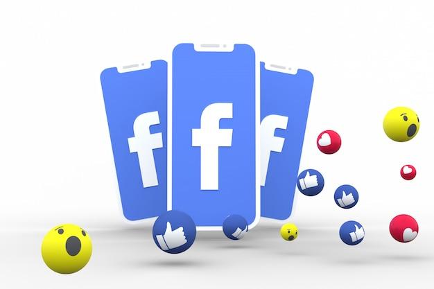 Il simbolo di facebook sullo schermo dello smartphone o del cellulare e le reazioni di facebook amano, wow, come il rendering 3d di emoji