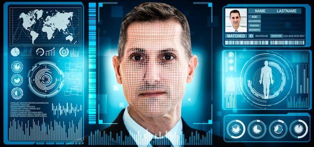 La tecnologia di riconoscimento facciale scansiona e rileva i volti delle persone per l'identificazione