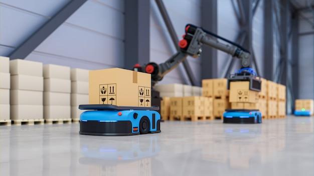 Automazione di fabbrica con agv e braccio robotico nel trasporto per aumentare il trasporto in modo più sicuro. rendering 3d