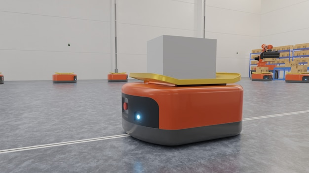 Automazione di fabbrica con agv e braccio robotico nei trasporti per aumentare di più il trasporto in sicurezza.