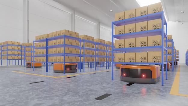 Automazione di fabbrica con agv e braccio robot nel trasporto per aumentare di più il trasporto in sicurezza.