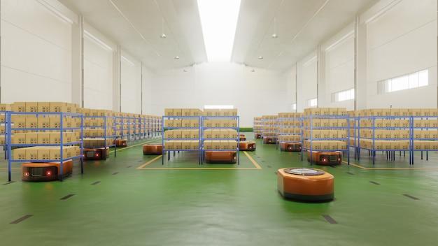 Automazione di fabbrica con agv in trasporto per aumentare ulteriormente il trasporto in sicurezza.
