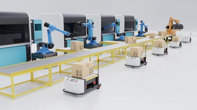 Automazione di fabbrica con agv, stampanti 3d e braccio robotico, rendering 3d