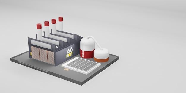 Illustrazione 3d di progettazione industriale dell'edificio industriale della fabbrica