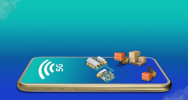 Sistema di trasporto di fabbrica collegato con uno smartphone sull'illustrazione 3d del settore della logistica del magazzino di rete 5g