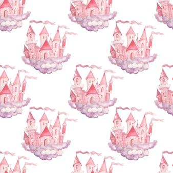 Fata principessa castello disegnato a mano acquerello illustrazione senza cuciture stampa tessile sfondo clipart per bambine per le vacanze congratulazioni nuvole rosa colore carino foto