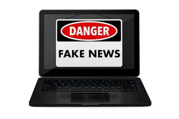 Il pericolo di notizie false firma sopra lo schermo del computer portatile su un fondo bianco. rendering 3d.