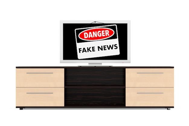 Il pericolo di notizie false firma sopra lo schermo della tv su un fondo bianco. rendering 3d.