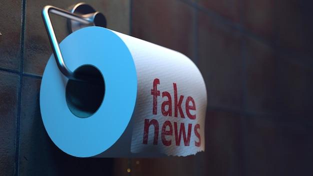 Iscrizione di notizie false su carta igienica nella toilette