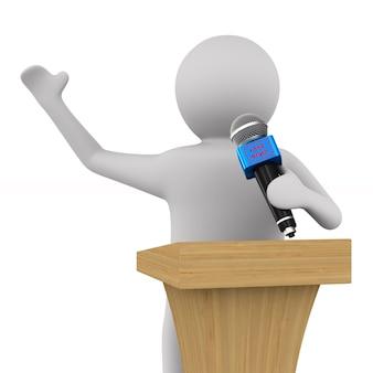 Notizie false. l'uomo parla con il microfono. isolato, rendering 3d