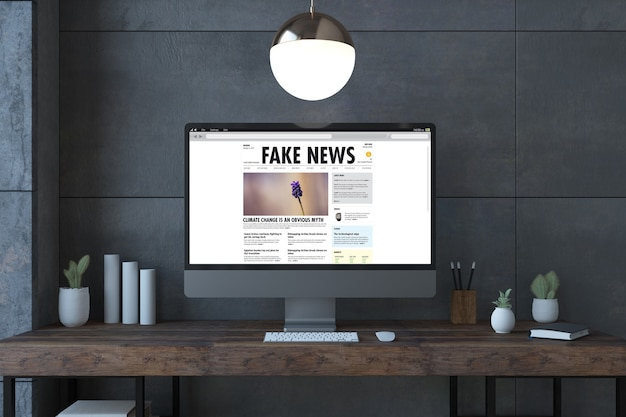Schermo di notizie false computer su un rendering 3d desktop