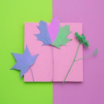 Stagione autunnale pittura foglia composizione minimal flat lay arte creativa autunnale