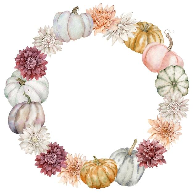 Ghirlanda autunnale con zucche colorate e fiori autunnali. modello dell'acquerello del ringraziamento decorato con astri.