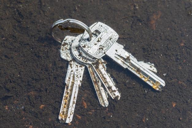 Le chiavi cadute giacciono in una pozzanghera per strada. aprendo le porte. foto di alta qualità
