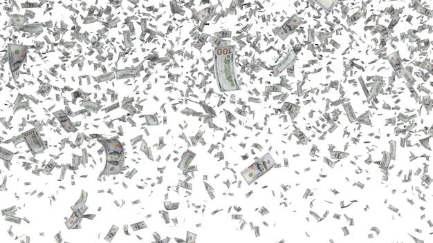 Banconote che cadono isolate su priorità bassa bianca. doccia di denaro, vincita alla lotteria, pagamento cashback, concetto di successo finanziario. elemento di design grafico per flyer, poster, modello di sito web. illustrazione 3d