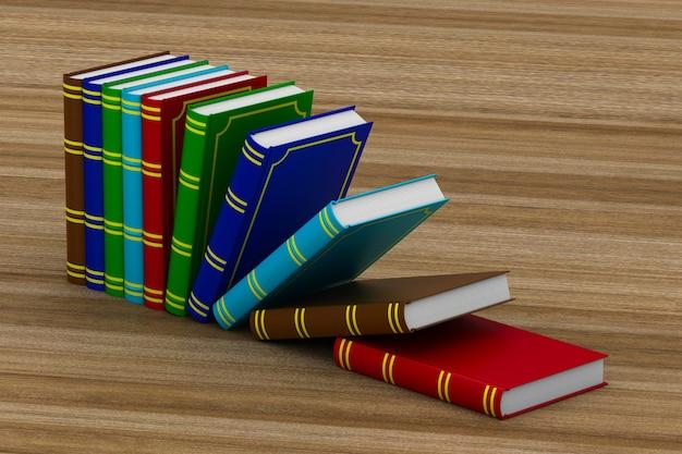 Libri che cadono sul tavolo. rendering 3d