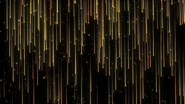 Particelle luminose che cadono. pioggia di particelle. luci volanti. scintillii luccicanti. movimento festivo. nero isolato.