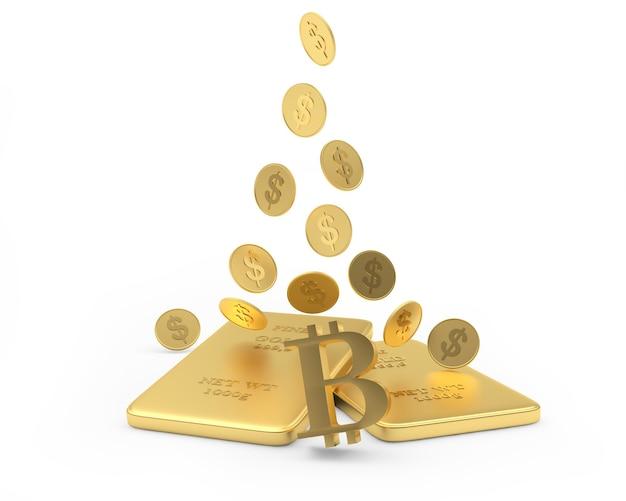 Monete del dollaro che cadono sul segno di bitcoin e sui lingotti d'oro
