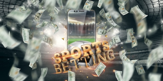 Dollari in calo e smartphone con la scritta scommesse sportive online. background creativo, gioco d'azzardo.
